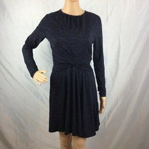 Whistles Dress Size 6 Blue Black Animal Print Long Sleeve Knot Front
